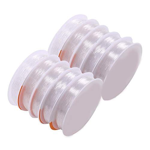 RENSHENKTO Pulsera de hilos elásticos transparentes de goma elástica para joyas, hilo transparente, 10 unidades