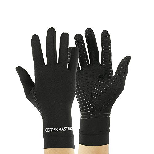 HIGHCAMP Compression Gloves for Arthritis Hands, Copper Infused to Relief Swelling Pain Joints Wrist, Daily Support Raynauds Rheumatoid, RSI, Carpal Tunnel, Computer Typing- Unisex Full Finger, S