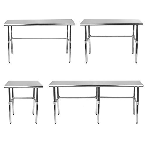 Open Base Stainless Steel Table + Optional Casters | Customize To Your Size | Available In 43 Sizes | Residential & Commercial | Food Prep Metal Table | Utility Work Bench | NSF