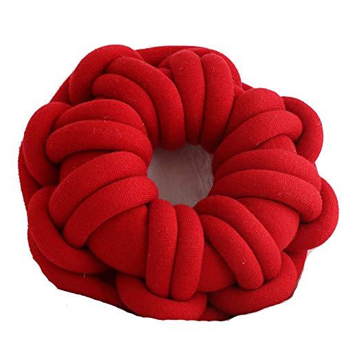 JenLn Anillo Hecho a Mano Tiro Anudado Almohada Cojín Creativo Decoración para el hogar Cojín Nudo Peluche de Peluche Almohada (Color : Red, Size : 39x39x12cm)