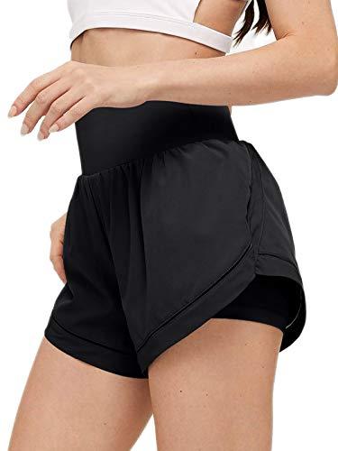 ADREAMLY Shorts Damen Sport Sommer 2 in 1 Kurze Hose Schnelltrocknende Laufhose für Damen Fitness Joggen und Training Sporthose für Yoga Sport Jogging Gym Running Beiläufige Elastisch(Schwarz L)