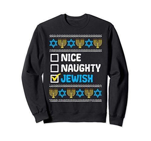 Nice Naughty Jewish Ugly Hanukkah Sweater Chanukah Jew Gift Sweatshirt
