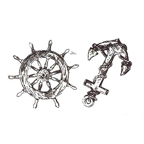 EROSPA® Tattoo-Bogen / Sticker temporär - Anker / Steuerrad / Schiff