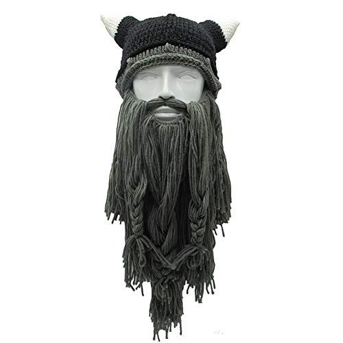 Yvonnelee Damen Herren Mütze Bartmütze Lustige Strickmütze mit Haare für Skilaufen Karneval Halloween Cosplay Party 1025