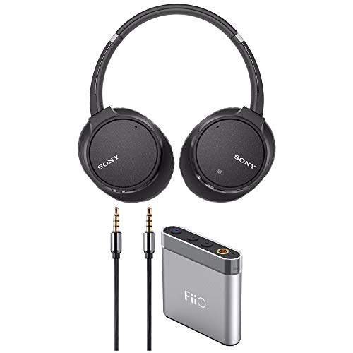 Sony WH-CH700N Wireless Noise Canceling Headphones (Black) with FiiO A1 Silver Portable Amp Bundle