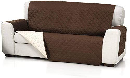 Dabuty Online, S.L. Funda Cubre Sofá, Protector para Sofás Acolchado Reversible Color Marrón (3 PLAZAS)