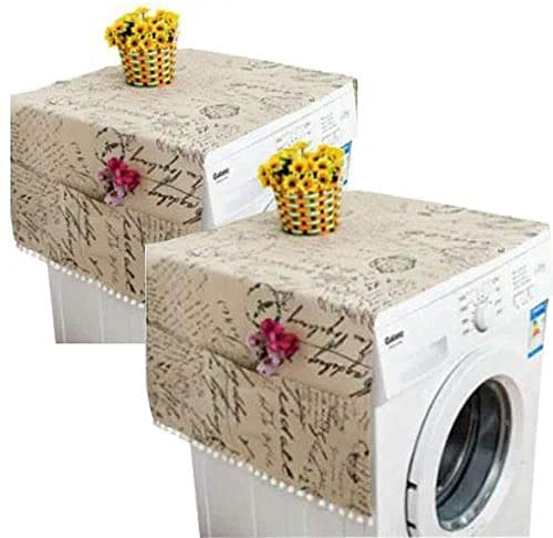 2PCS Cotton Linen Washing Machine Cover, Anti-Stain Washer Dryer Covers for The Top, Refrigerator Fridge Dust Cover with Storage Pockets Bag