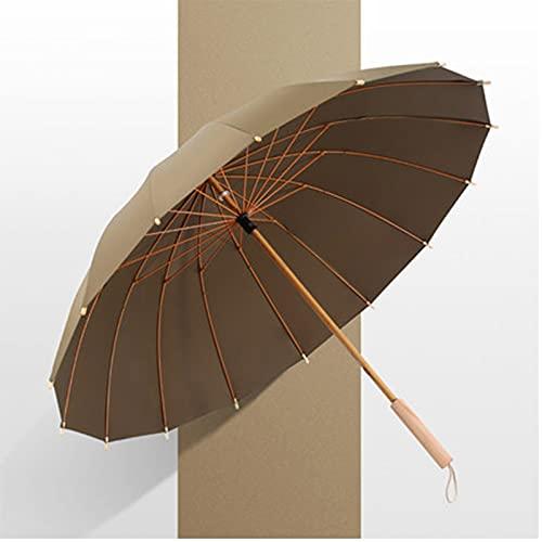 IHZ Hochwertiger 16-Knochen-Regenschirm mit Bambuskern, kreativer Retro-Windschirm, sonnengeschütztes Geschenk für Frauen mit langem Griff(Color:D)