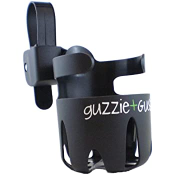 guzzie+Guss Universal Cup Holder, for Strollers, Wheelchairs, Mobility Walkers, Bikes, Camping Chairs. Easy, No Tool, Install with Anti-Slip Sleeve, Fits Wide Variety of Drink Containers, Black