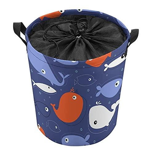 Cubo de almacenamiento impermeable grande organizador ligero cesta para la colada, cubos de juguete, cestas de regalo, ropa sucia, dormitorio de niños, baño de color ballena