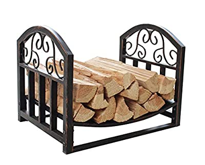 Everflying Wrought Iron Log Rack, Firewood Storage Holder, Heavy Duty Log Bin, Fireside Log Carrier for Fireplace Stove Accessories