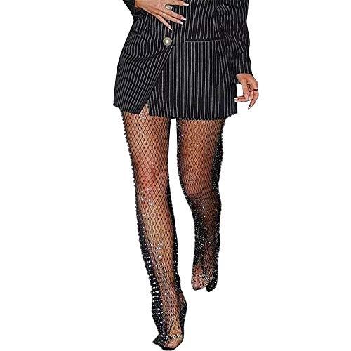 HUAZONG Damen Netzhose mit Strasssteinen, sexy, durchsichtig, ausgestanzt, Club-Party, lange Hose, Glitzer, Diamant-Überzug Gr. L, Schwarz 3