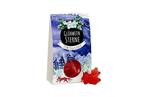 Glühwein Sterne, rote Fruchtgummi-Sterne mit Glühweingeschmack, ganz ohne Alkohol, 60 Gramm Naschportion, süße Geschenkidee um die Weihnachtszeit