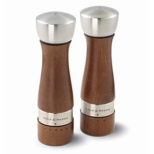 COLE & MASON Oldbury Wood Salt and Pepper Grinder Set - Wooden Mills Include Gift Box, Gourmet Precision Mechanisms and Premium Sea Salt & Peppercorns, Brown