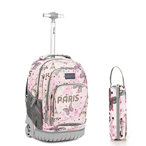 Tilami Rolling Backpack 18 Inch with Pencil Case School for Boys Girls, Pink
