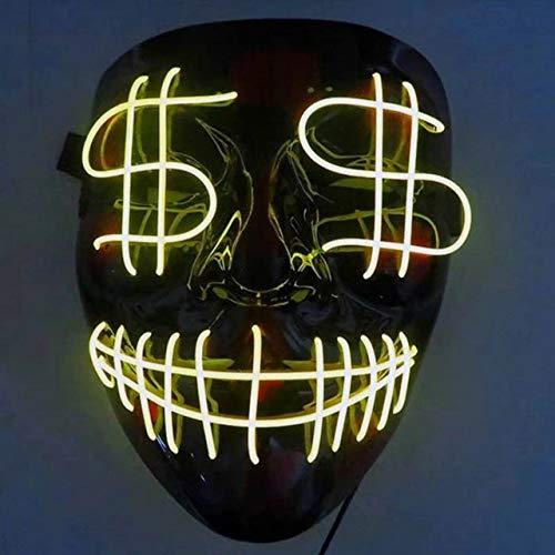 BFMBCHDJ LED Maske Halloween Horror Maske Cosplay Kostüm Scary Glowing Maske EL Draht Glowing Maske Maske Licht auf Festival Party China One Size