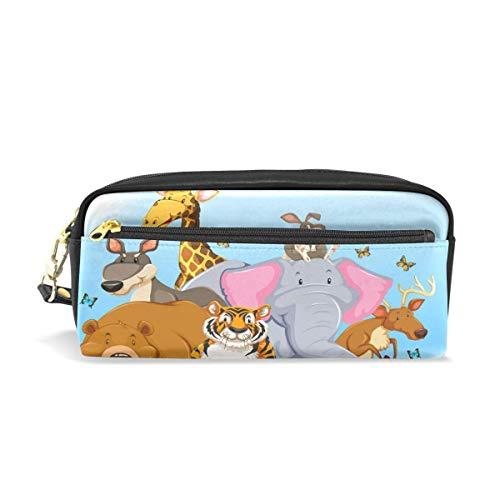 Zipper Pencil Pouch,Estuche De Lápices Animal De Jirafa De Tigre De Dibujos Animados, Bolsas De Lápices Adecuadas Para Viajes De Negocios De Fiesta,20x5.5x8.5cm