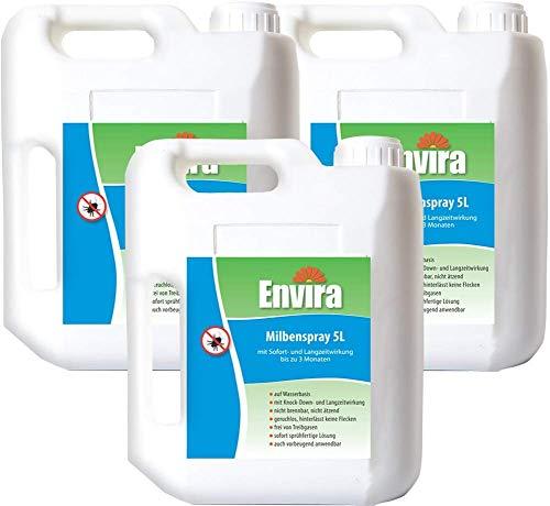 Envira Milben-Spray - Anti-Milben-Mittel Mit Langzeitwirkung - Geruchlos & Auf Wasserbasis - 3 x 5 Liter