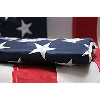 American Flag - 3x5 Foot Outdoor Nylon Banner with Embroidered Stars Individually Sewn Stripes and Brass Grommets - Optional 3/4  Pole Sleeve - Large 3' x 5' Red White and Blue US Flags