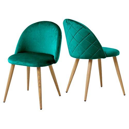 CLIPOP Juego de 2 sillas de comedor de terciopelo con respaldo y patas de metal resistentes para sillas de comedor, sala de estar y dormitorio, sillas de cocina verdes, 46 * 46 * 77 cm