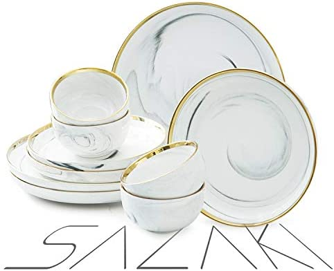 Sazaki Melamine Dinnerware Set 12 Piece Plate Bowl Set Durable Dinnerware for 4 Unique Natural product image