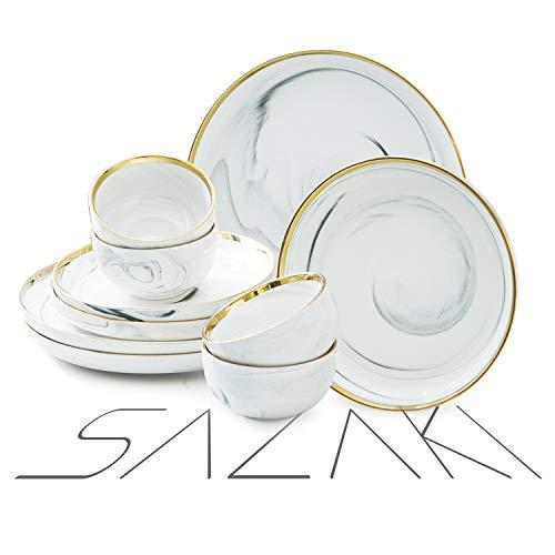 Sazaki Melamine Dinnerware Set 12 Piece Plate & Bowl Set, Durable Dinnerware for 4, Unique Natural Marble Design Gold-plated Dinnerware Set (Dinner Plate, Dessert Plate, Bowl)