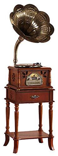 Grammofono/Fonografo Voce Nostalgia retrò con Altoparlanti Stereo • Radio • CD • Mp3 E USB con Clacson (Incluso Supporto da Tavolo), 3 velocità (33/45/78)