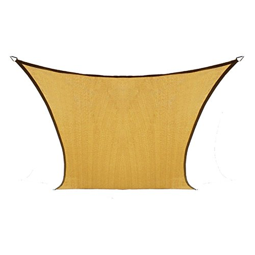 Coolaroo Coolhaven Shade Sail, 95% UV Block Shade and Sun Shield, Medium 12' Square Shade Sail Including Hardware Kit, Sahara Tan