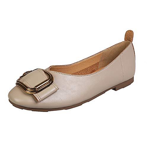 LYXIANG Zapatos Dolly para Mujer, Bailarines Zapatos De Unión De Punta De Punta Plana con Hebilla Cuadrada De Fondo Suave Y Solado Suave. Zapatos De Abuelita Boca Superficial,A,43