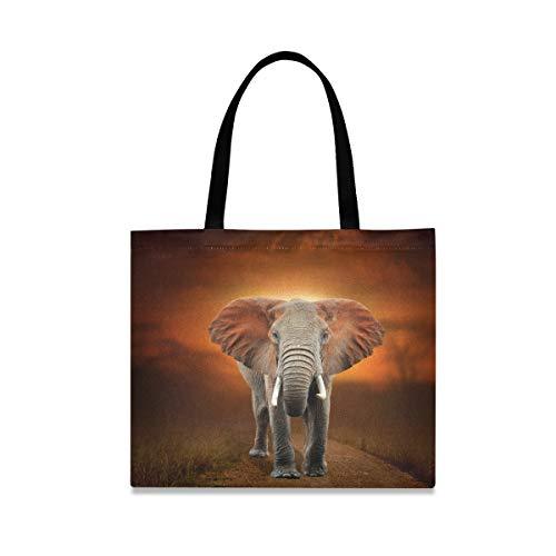 Einkaufstasche mit Elefant auf Savannen-Landschaft für Damen, groß, wiederverwendbar, mit Innentasche, Einkaufstasche, Handtasche für Fitnessstudio, Strand, Reisen, Outdoor