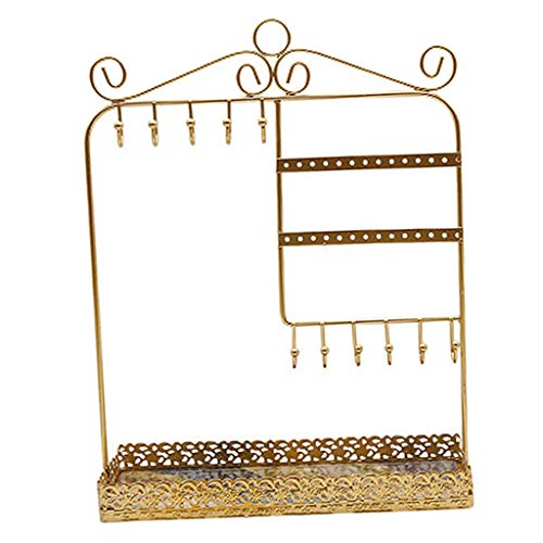El joyero tiene una forma novedosa y única, un dis Soporte de almacenamiento de joyería para mujer Capacidad grande Dressigng Mesa pulsera anillos collar colgando porta rack - oro ( Color : Gold )
