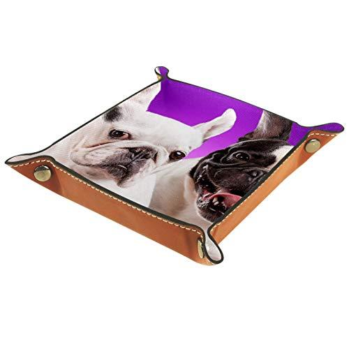 rodde Bandeja de Valet Cuero para Hombres - Animal Bulldog francés - Caja de Almacenamiento Escritorio o Aparador Organizador, Captura para Llaves,Teléfono,Billetera