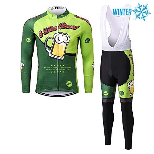 Thriller Rider Sports® Herren I Like Beer Sport & Freizeit MTB Fahrradbekleidung Radtrikot Langarm Winter Thermisch Warm Jacke und Radhose Lang Anzug X-Large