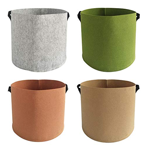 Plant Bags 4 Pack Colorful Mix Durable Grow Containers 3/5/7/10 Gallon Nonwoven Aeration Fabric Pots with Handles for Vegetable/Flower/Nursery (3 Gallon)