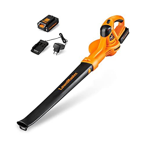 LawnMaster CLBL2406 Soffiatore Elettrico a Batteria, 24V, 2,0Ah, Soffiatore per Foglie, Leggero, con Batteria e Caricatore Rapido, Installazione Rapida.