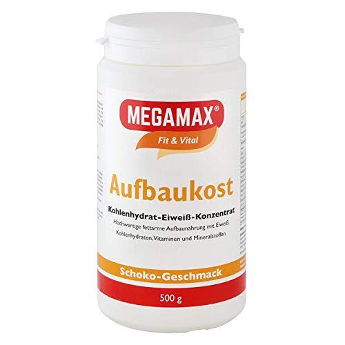 MEGAMAX Aufbaukost Schoko 500g- Ideal zur Kräftigung und bei Untergewicht. Proteinpulver zur Zubereitung eines fettarmen Kohlenhydrat-Eiweiß-Getränkes für Muskelmasse - Muskelaufbau - Gewichtszunahme