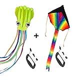 Mayco Bell Paquete de 2 Cometas: Cometa arcoíris Grande y Cometa de Pulpo para niños, Juego al Aire Libre (Verde)
