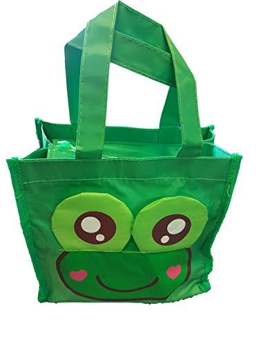 süß grüner Frosch Recycled umweltfreundlich, wasserfest, Damen, Mädchen, Kinder Mittagessen, Einkauf,Reise,Handtasche