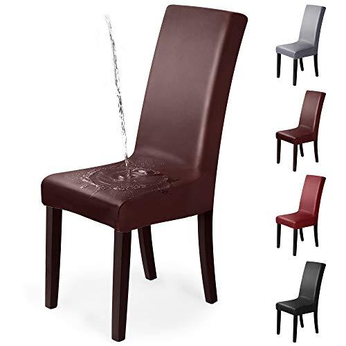Fundas para sillas 6 Piezas Funda de Silla Elástica PU Cubiertas para sillas Extraíbles y Lavables Fundas sillas Impermeables y Resistentes al Aceite, para Hogar, Hotel, Banquete (Pack de 6, Marrón)-P
