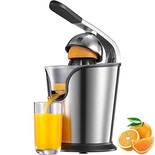 Exprimidor eléctrico de 160 W, exprimidor naranja con palanca Citrus Juicer, 2 conos giratorios a la derecha para cítricos frescos, función antigoteo, apto para lavavajillas, sin BPA