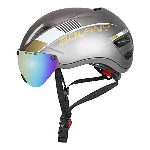 ZYSQTK Fahrradhelm Skaterhelm Downhill rennradhelm Mountainbike Helm Integrierter Reithelm Ski/Leinenhelm Outdoorhelm 58-62cm, Gold