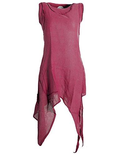Vishes - Alternative Bekleidung - Asymmetrisches armloses Lagenlook Zipfelkleid dunkelrot 34-36