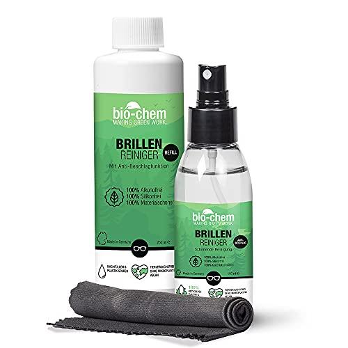 bio-chem Brillenreiniger-Spray mit Anti-Beschlag Funktion Antistatik-Spray Reinigungs-Set 100 ml Sprayflasche + 250 ml Nachfüllflasche (350 ml) + hochwertiges Mikrofasertuch/Brillenputztuch microfaser