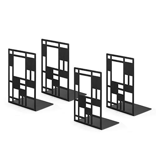 4 paia per ufficio Fermalibri in metallo resistente colore: Nero Nero 1 per scaffali Ogori