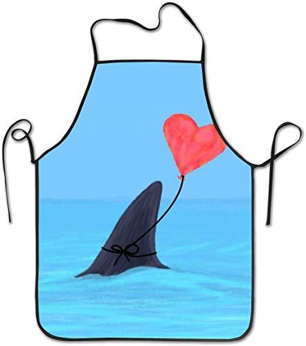 DUTRIX Delantal con Pechera Ajustable, Delantal Cosido, diseño Original de la Semana de los Tiburones, Delantales de Cocina...