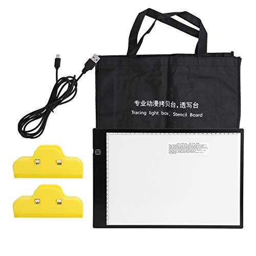 Trazador de caja de luz LED portátil, Caja de luz portátil A4 Brillo Regulable Almohadilla de luz LED Caja de luz de luz de rastreo LED Tableta gráfica digital para artista Pintura infantil