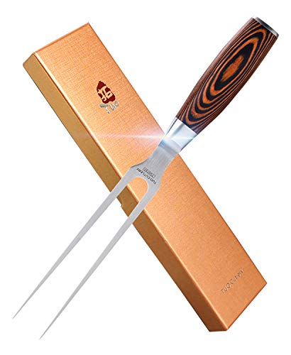 TUO Carving Fork - 7 inch Sharp Meat Fork Barbecue Forks Meat Cooking Fork for Roast Poultry & BBQ Party - German Stainless Steel & Ergonomic Pakkawood Handle - Fiery Series Gift Box Included
