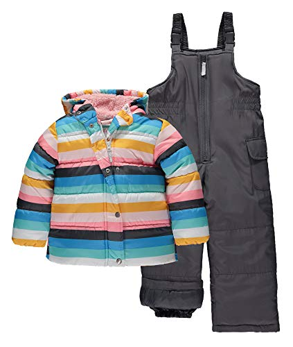 Carter's Girls' Heavyweight 2-Piece Skisuit Snowsuit (4T, Rainbow Stripe)