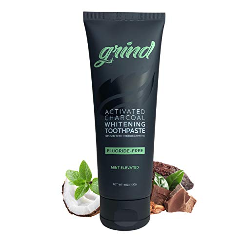 Grind Activated Charcoal Teeth Whitening and Remineralizing Toothpaste, Natural Hydroxyapatite, Coconut Oil, Made in USA, Fluoride Free and SLS Free, Natural Teeth Whitener, Vegan, Coco Mint (4oz)