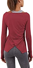 Bestisun Womens Workout Clothes Yoga Gym Fitness Long Sleeve Shirts Thumb Holes Athletic Sports Top Wine L